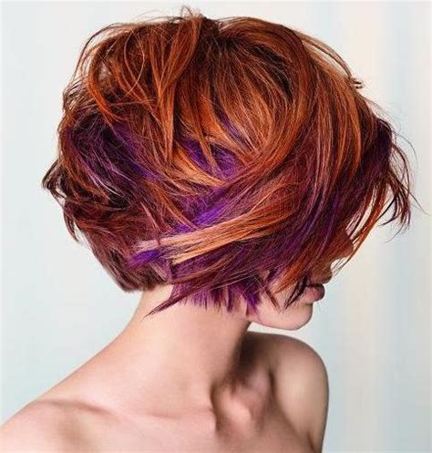 short haircut with red tint and highlights edgy hair color ideas for 2016 vibrant red and purple