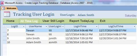 track login tracking user login database