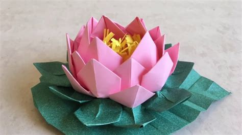 How To Make Origami Lotus - origami lotus easy paper flower with leaf tutorial step
