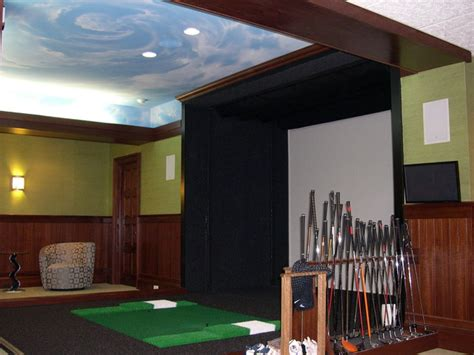 room golf sky mural in the basement golf room traditional home