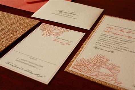 deco sea coral wedding invitations