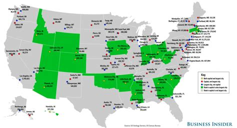 us big cities map state capitals largest cities map business insider