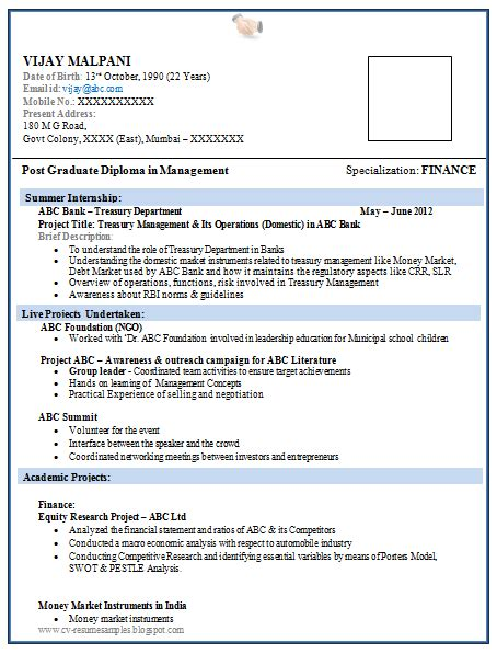 resume format for freshers word doc 10000 cv and resume sles with free resume format for mba finance fresher