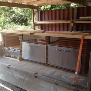 outdoork 252 che aus holz mit einbau gasgrill von lynx grill