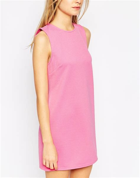 Dress Jumbo Diskon 1 asos sleeveless 60 s shift dress in jumbo rib in pink lyst