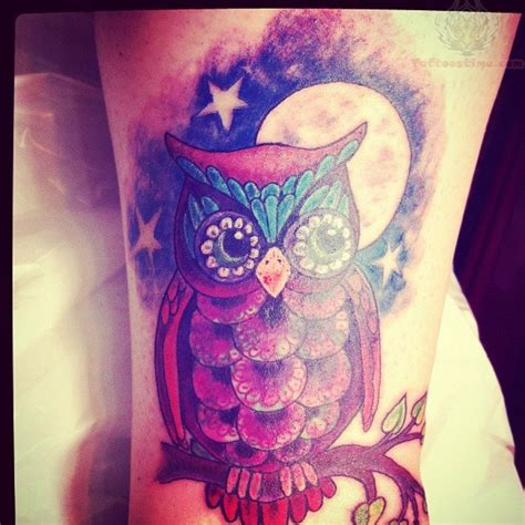 owl and moon tattoo and moon with owl