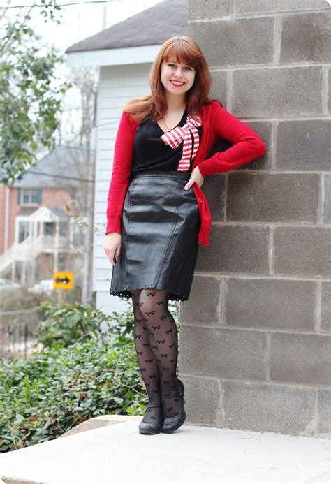 leather pencil skirt bow tights a cardigan
