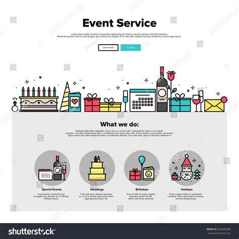 event concept template one page web design template thin stock vector 324049280