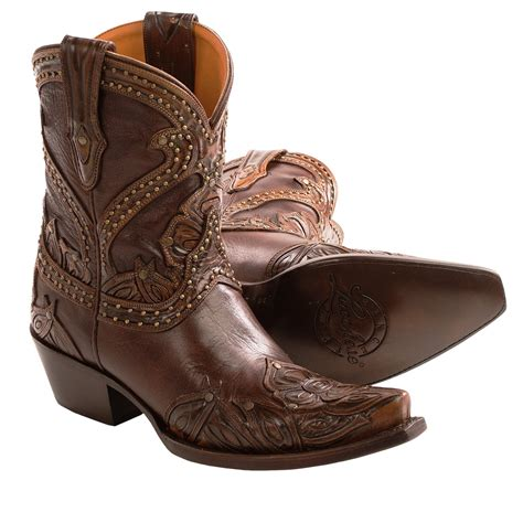 ankle cowboy boots womens lucchese tooled petal cowboy boots leather ankle height
