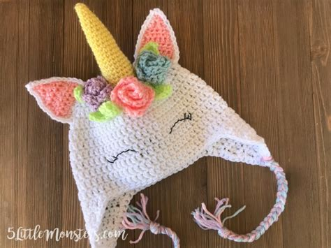 pattern for unicorn hat 5 little monsters crocheted unicorn hat with flowers