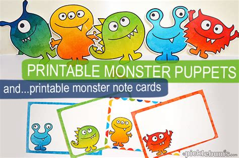 Printable Monster Notecards | free monster printables for my scaredy boy picklebums