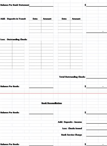 free bank reconciliation template bank reconciliation template sle format