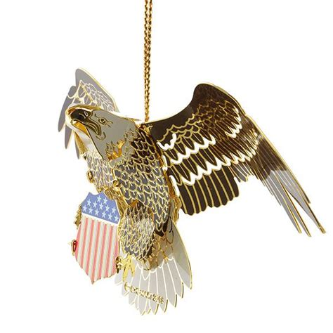 chemart bald eagle brass christmas ornament