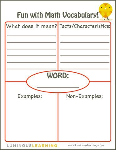 vocabulary card template 4 to a page teaching math vocabulary luminous learning