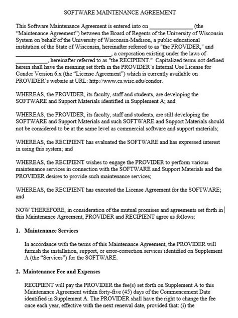 research agreement template 9 free sle maintenance agreement templates printable