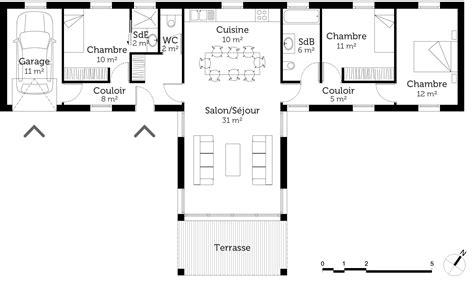 Maison En T Plain Pied by Plan Maison Moderne En T Ooreka