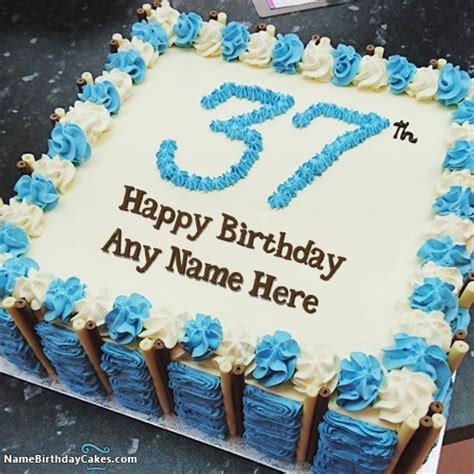 37th age birthday cake with name and photo online editor
