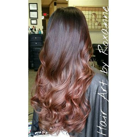 brunette to rose gold hair balayage or ombre hair
