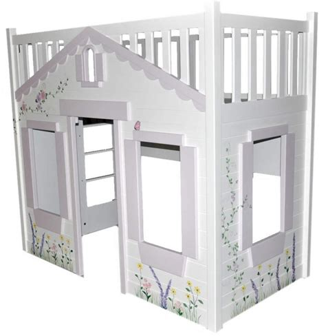 Cottage Loft Bed | storybook cottage loft bed pink