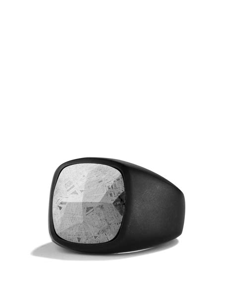 Ring Metalik Helli lyst david yurman signet ring with meteorite in metallic