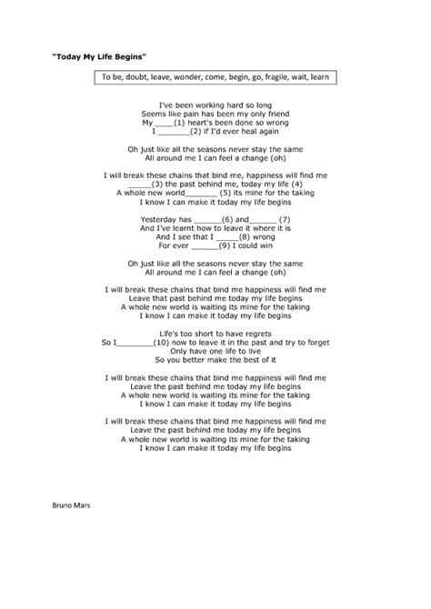 bruno mars biography worksheet song worksheet today my life begins by bruno mars