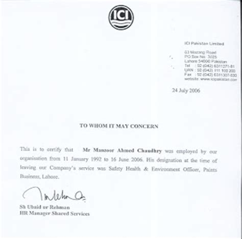 Work Experience Letter To Contractor Manzoor Ahmad Chaudhry Hse Manager Experience Letter Of Ici Pakistan Ltd