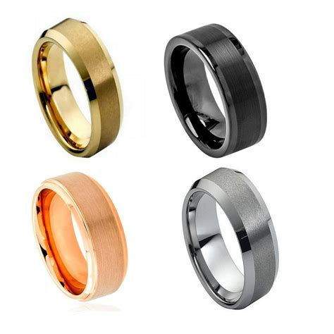 comfort fit tungsten wedding bands black tungsten carbide wedding band ring mens jewelry