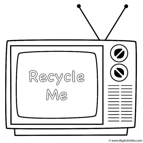 Old Television With Words Coloring Page Earth Day Tv Coloring Pages