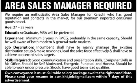 area sales manager required by an organization in karachi pakistan jang on 02 oct 2011