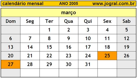 Calendario Ano 2005 Calend 225 Mensal Mar 231 O De 2005 Imprimir M 234 S De Mar 231 O 2005