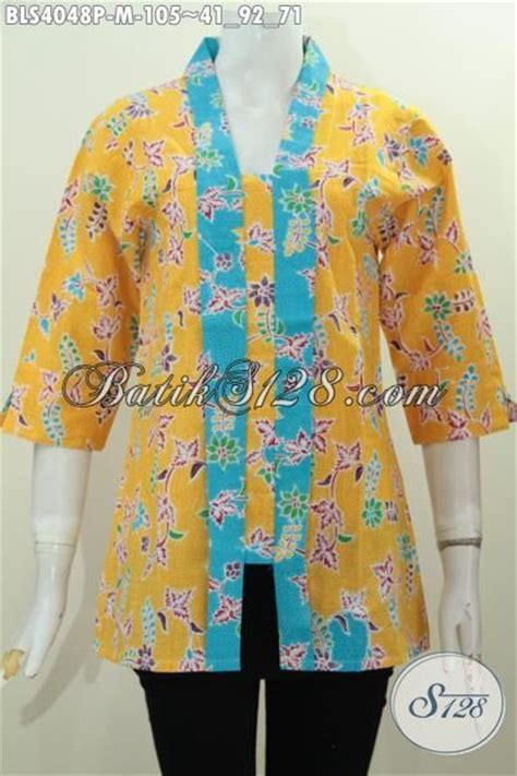 Pakaian Wanita Murmer Second pakaian batik wanita warna kuning motif bunga berpadu aksesn biru nan trendy busana batik modis