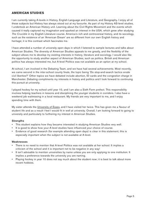 personal statement  history international  high