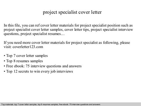 Project Specialist Cover Letter by Project Specialist Cover Letter