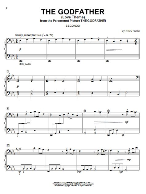 godfather themes the godfather love theme sheet music direct