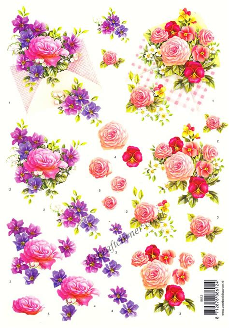Flower Decoupage - bouquets of pansy flowers 3d decoupage sheet