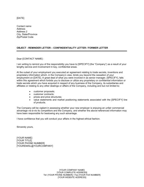 Reference Letter Reminder reminder letter confidentialty letter or former letter template sle form biztree