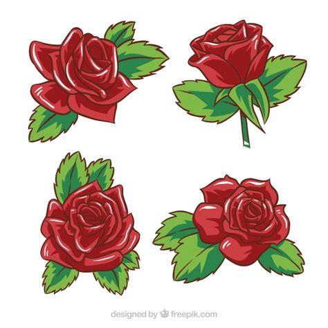 imagenes de rosas rojas descargar gratis pack de cuatro rosas rojas dibujadas a mano descargar