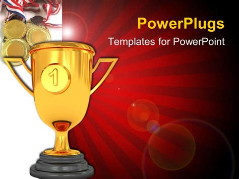 Powerpoint Template Golden Trophy Cup With Number One Award Powerpoint Template