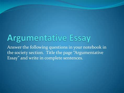 Writing An Argumentative Essay Powerpoint by Ppt Argumentative Essay Powerpoint Presentation Id 2015435