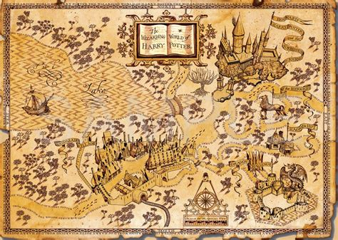 free printable world map a3 size harry potter world map a3 poster print amk1459 ebay