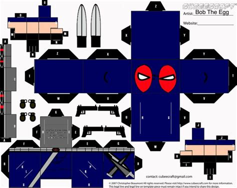 Papercraft Weapons Templates - weapon x deadpool cubee by bobtheegg deviantart on