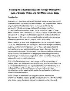 Karl Marx Essays by Shaping Individual Identity And Sociology Through The Of Dubois