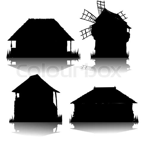 Cottage Silhouette by Ecological Country Houses Silhouettes Collection Stock