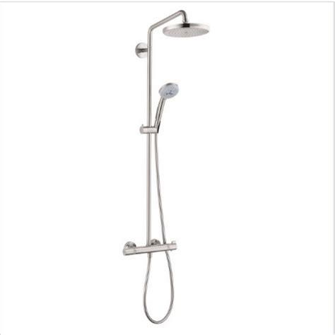 Bathroom Shower Doors Ideas hansgrohe croma 220 shower pipe in brushed nickel 27185821