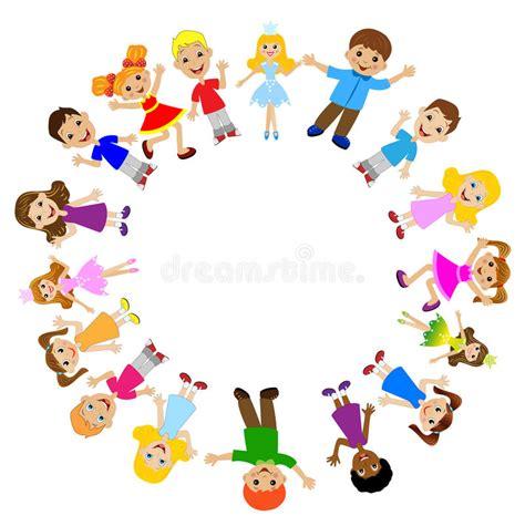 clipart amicizia molti bambini alzati in un cerchio illustrazione
