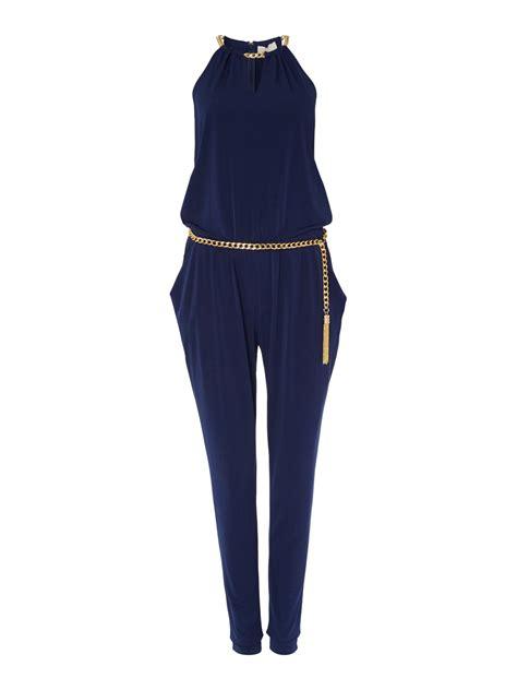 Jumpsuit Catton Navy Sabuk Belt michael kors sleeveless chain neck jumpsuit with belt in blue lyst