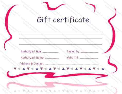 Pink border gift certificate template