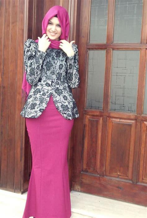 Abaya Pesta Setelan Kebaya 30 model baju batik muslim terbaru 2018