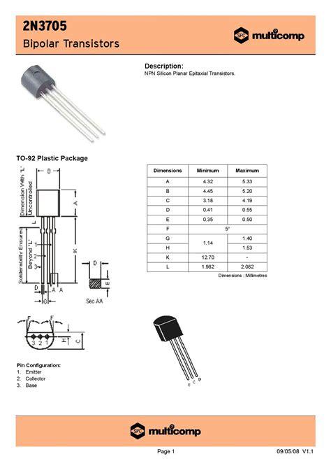 transistor npn gain 100 2n3705 transistor 2n3705 npn general purpose transistor robomart