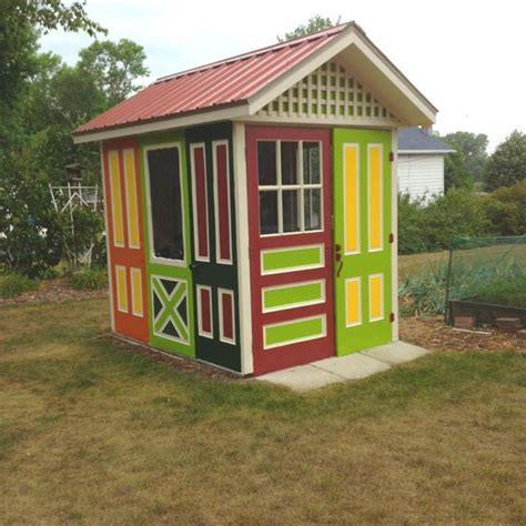 gorgeous colorful shed   ten recycled doors